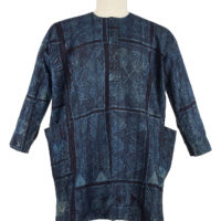 A dark blue man's cotton shirt with geometric patterns