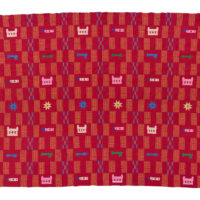 red kente with colourful woven motifs
