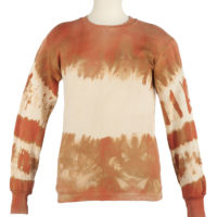 a white sweatshirt tie-dyed with red ochre