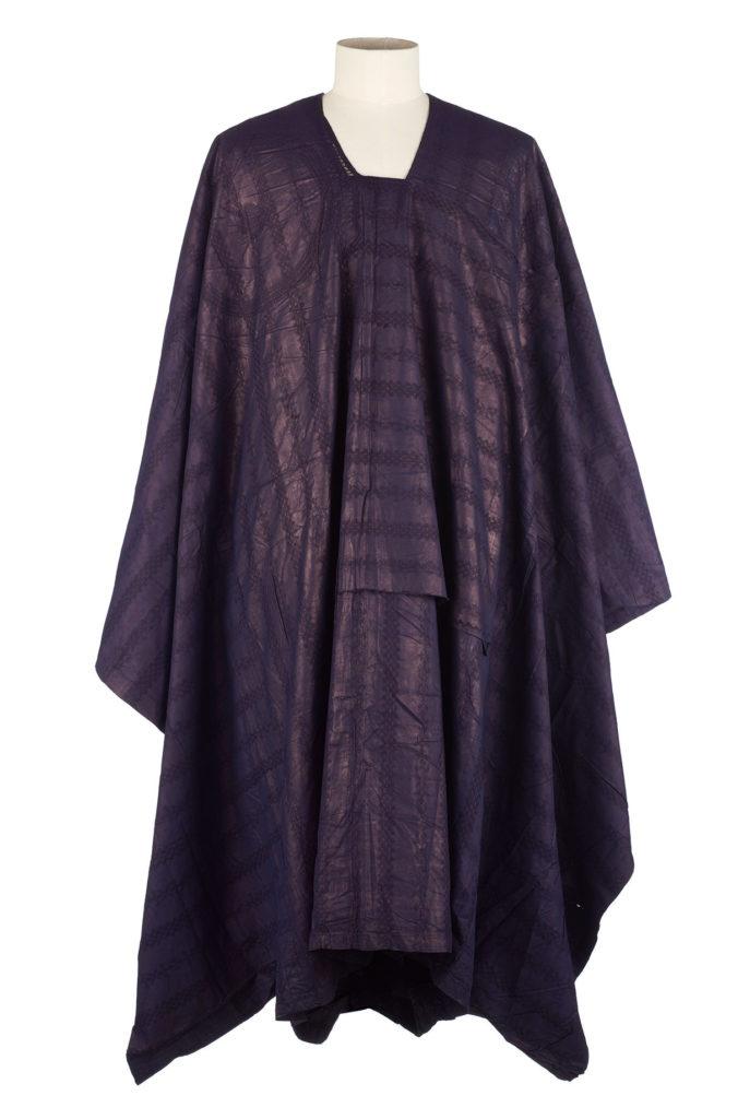 a shiny dark blue man's robe