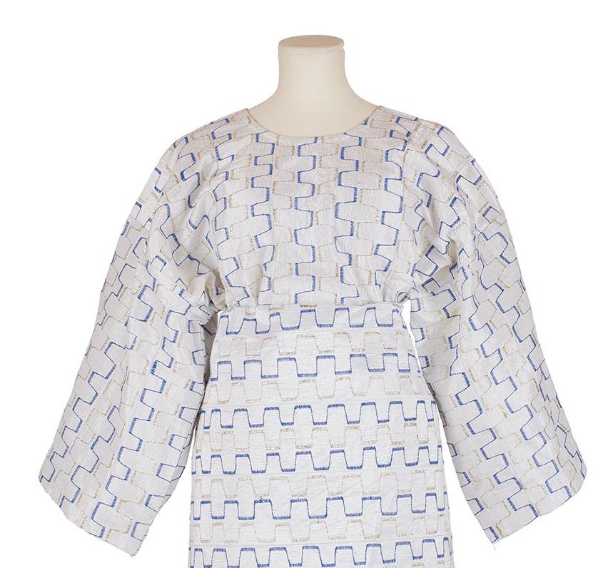 white aso-oke buba with blue and silver geometric stripes