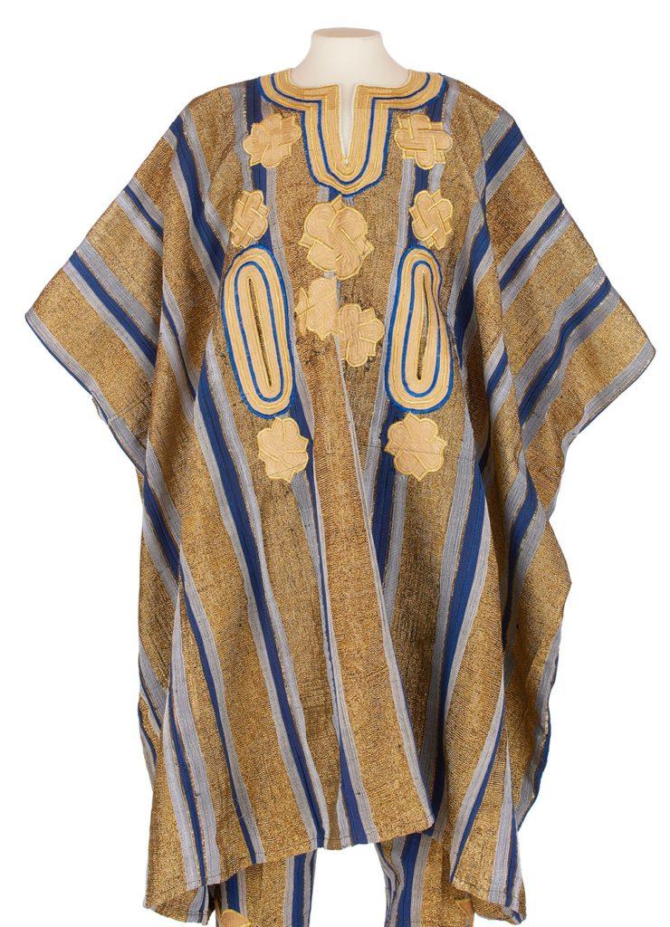 blue and gold aso-oke agbada robe