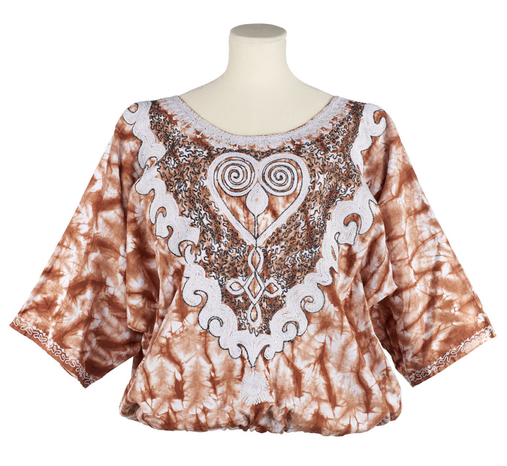 woman's blouse in brown and white tie dye with embroidered yoke