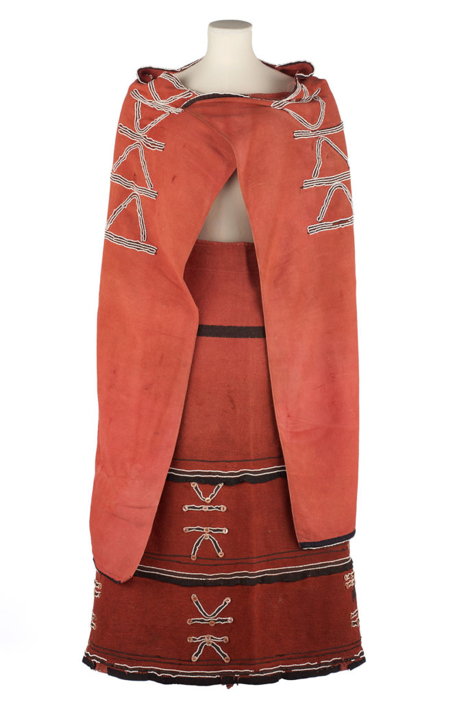 A red Xhosa woman's outfit