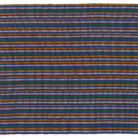 Pair of kente cloths in dark green with alternating white and yellow stripes