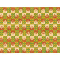 Kente cloth with alternating cream and maroon, and yellow and green shapes