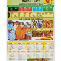 Calendar showing market days in the Volta region, with photos of people wearing kente
