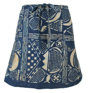 A line mini skirt made of blue and white adire fabric