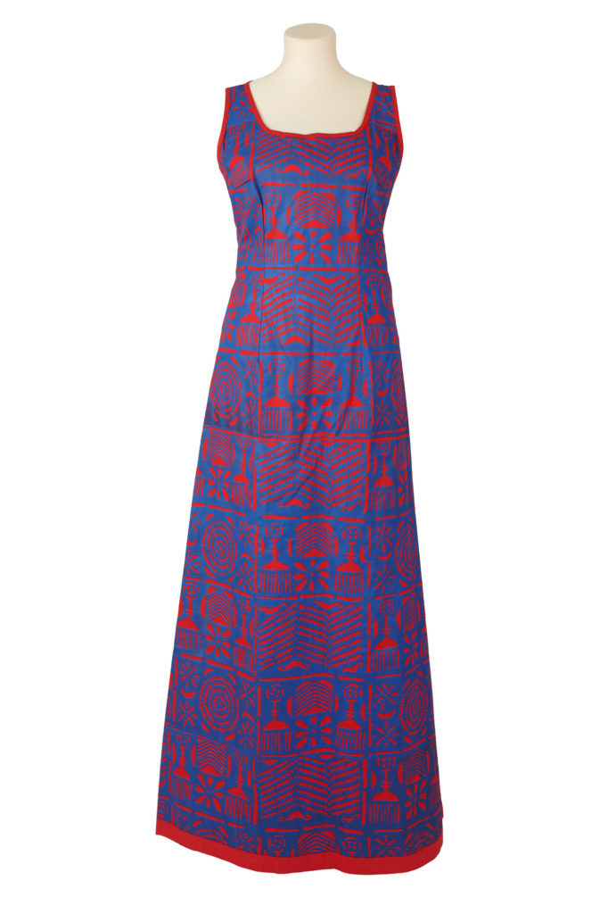 Blue and red adire print long sleeveless fitted dress