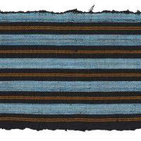 Aso-oke strip. Vertical narrow navy design with yellow strands and indigo blue stripes.