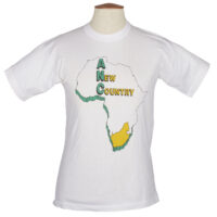 White T shirt with a map of Africa with South Africa highlighted in yellow and the slogan 'A New Country'