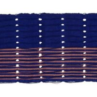 Dark blue strip of aso-oke fabric