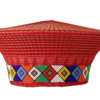 Red women's isicholo flared hat with brightly coloured beadwork around the band