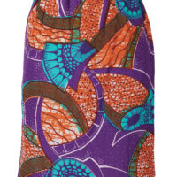 Short elacticated skirt. Purple, orange and turquoise swirled wax print fabric.