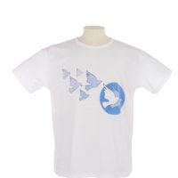 White T shirt blue doves logo on front