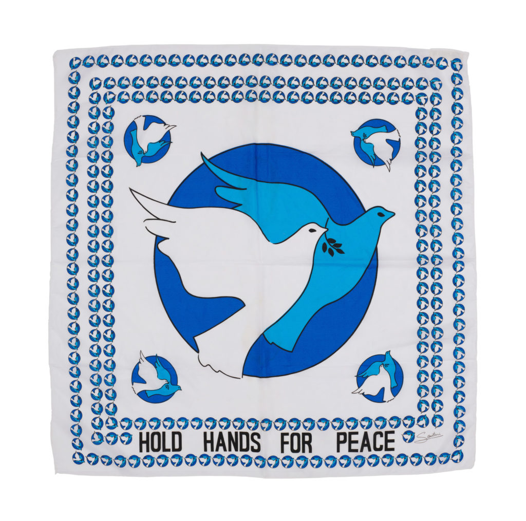 Blue and white square silk scarf with peace doves motif