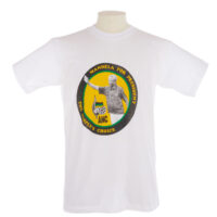 white T shirt with Mandela for President, the people's choice and image of Mandela in a yellow circle on the front