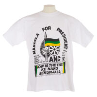 White T shirt with 'Mandela for president' and ANC logo