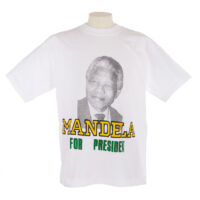 White T Shirt with picture of Nelson Mandela and 'Mandela for president' slogan