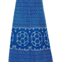 Blue and white shweshwe print skirt with football motif
