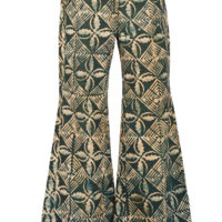 women's flared trousers in an indigo resist dyed fabric