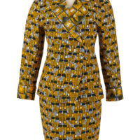 Woman's skirt suit in two contrasting patterns in ellow black and white wax print