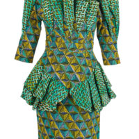 Woman's blouse and skirt outfit in two contrasting blue, yellow and green wax prints.
