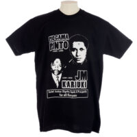 Black T shirt commemorating Pio Gama Pinto and J M Kariuki with images of their faces and the text 'Social Justice: Dignity, Equity and Prosperity for all Kenyans'.
