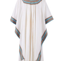 White cotton kaftan with coloured trim on neck and cuffs.