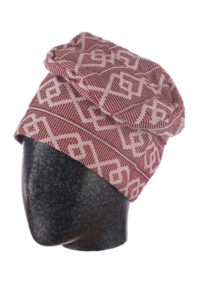Burgundy and pale pink men's fila hat with silver thread, made from strip woven aso-oke cloth.