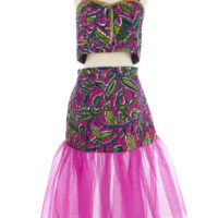 Magenta, navy blue, yellow and white wax print women's top and skirt outfit