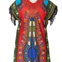 red blue and black dashiki dress with red lace at the yoke and black lace fringing at the shoulder