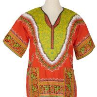 Women's orange and yellow dashiki shirt on a mannequin