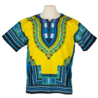 Woman's yellow and blue dashiki shirt on a mannequin