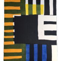 print art work composed of geometric black, white, blue and orange blocks.