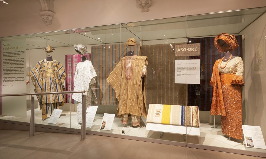 Museum display of aso-oke outfits on mannequins