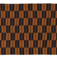 pair of brown and black kente cloths