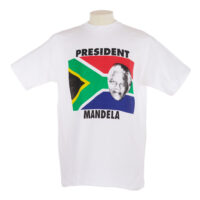 white T shirt with a portrait of Nelson Mandela and the South African flag