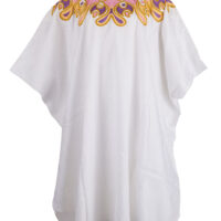women's white boubou gown and skirt, with colourful embroidery at the collar